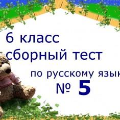 Пятый сборный тест по русскому языку за 6 класс